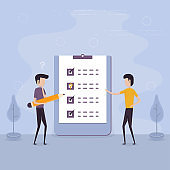 Businessmen holding giant pencil and big checklist.Marked checklist & a clipboard paper.Business organization & achievements of goals concept.Check list with tick mark.Businessman with questionnaire.Successful completion of business tasks.Flat vector illu