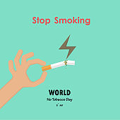 Human hands and broken cigarette icon with Quit Tobacco vector   design template.May 31st World no tobacco day.No Smoking Day.No Tobacco Day Awareness Idea Campaign