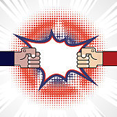 Fist & Competition.Blue & red arm.Resolving conflict or dispute resolution.Conflict and fighting.Business vector concept illustration