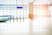 Modern empty airport entrance hall