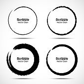 Hand drawn circle brush sketch set. Grunge doodle scribble round circles for message note mark design element. Brush circular smears. Banners, Insignias , Logos, Icons, Labels and Badges. Vector