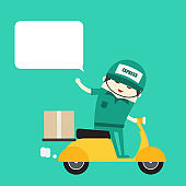 online ordering and fast delivery service. Goods delivery man hipster is riding motorbike.