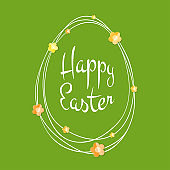 Easter greetings card. Egg frame with scribble lines. Calligraphic lettering with colorful paper flowers isolated on green  background. Retro holiday easter badge. Religious holiday sign. Vector