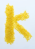 Letter K made with corn flakes