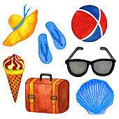 Watercolor summer trip set