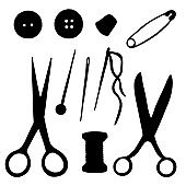 Sewing tools black silhouettes