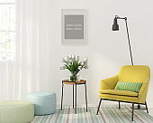 Interior with a yellow armchair