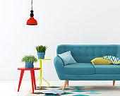 Interior with a blue sofa