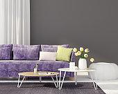 Living room with a purple sofa