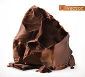 Dark chocolate pieces. 3d realistic vector icon