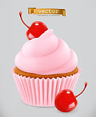 Cupcake with cherry. 3d realistic vector icon