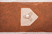 Looking down on a new baseball sitting on home plate