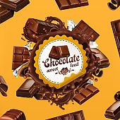 Chocolate, 3d vector label