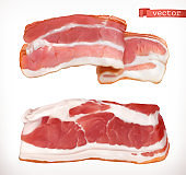 Bacon. Fresh meat, 3d realistic vector icon set