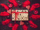 Colorful box with a gift for Valentine's Day