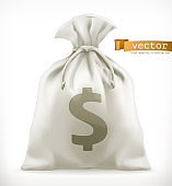 Money Bag. 3d vector icon