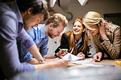 Group of creative designers brainstorming