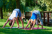 Smiling couple doing yoga exercises outdoors