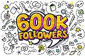 600K followers illustration in pop art style.