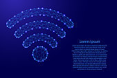 wifi icon wireless internet symbol from futuristic polygonal blue lines and glowing stars for banner, poster, greeting card. Vector illustration.