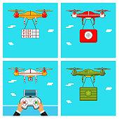 Drone control via Remote. Quadcopter aerial with camera