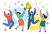 Concept of Business team achievements. Cool vector concept on prize winning with casually clothed group of people, golden cup and confetti.