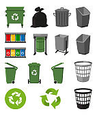 Colorful cartoon trash element set