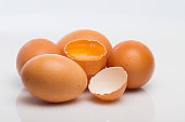 chicken eggs isolated on white background.