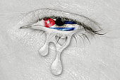 Cuba Flag in Crying eye