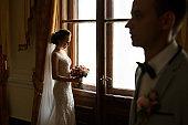 Elegant wedding couple, bride and groom posing at wedding day