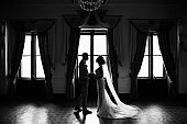 Wedding couple. Silhouete of bride and groom in castle room