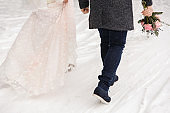 Winter wedding, bride and groom