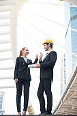 business engineer showing thumbs up. concept good job and success for work.