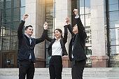 business teamwork hands up. concept celebration success for work.
