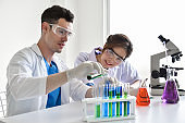Two scientists are working in laboratory.