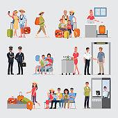 Flat Cartoon character with travel set, Illustration Infographics Airport.vector cartoon set. Travel concept.