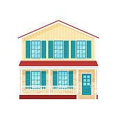 House, home facade. Vector illustration in flat design.