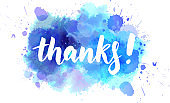 Thanks! lettering on watercolored background