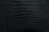 Black crocodile leather texture background