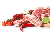 Raw meat products on white background
