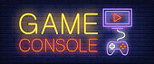 Game console neon text with joystick and monitor