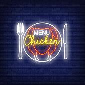 Menu chicken neon sign on brick wall