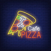 Cafe pizza neon sign