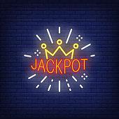 Casino jackpot neon sign