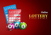 Online lottery lettering, tickets and balls