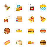 Fast food collection. Colorful flat icon set
