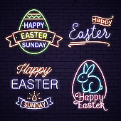 Happy Easter neon lettering with bunny