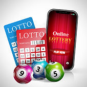 Online lottery play now lettering on smartphone screen