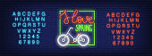 Neon alphabet and I Love Spring with bicycle on brick back. Signboard template