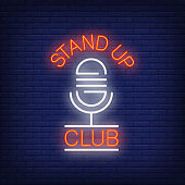Stand Up Club Neon Sign with Microphone